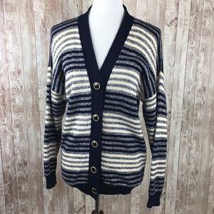 St. John Navy Blue Striped Knit Cardigan